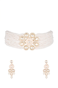 Gold Finish Faux Diamonds Pink Enameled Choker Necklace Set by VASTRAA Jewellery