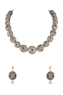 Gold Finish Green & Black Stones Mala Necklace Set by VASTRAA Jewellery