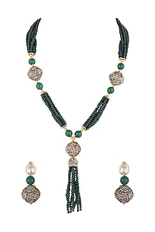 Gold Finish Green Beads & Black Stones Mala Necklace Set by VASTRAA Jewellery