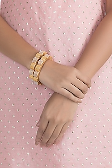 Gold Finish Faux Pearls Openable Bangles by VASTRAA Jewellery