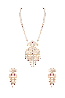 Gold Finish Faux Pearl, Kundan & Red Stone Necklace Set by VASTRAA Jewellery
