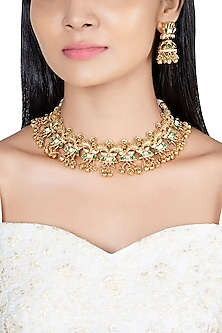 Gold Finish Antique Necklace Set by VASTRAA Jewellery