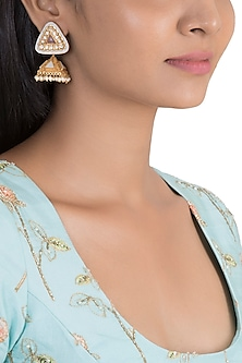 Gold Finish Enamelled Antique Jhumka Earrings by VASTRAA Jewellery