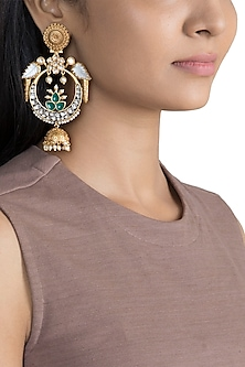 Gold Finish Antique Parrot Earrings by VASTRAA Jewellery