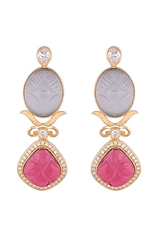Gold Finish Blue & Pink Stone Earrings by VASTRAA Jewellery