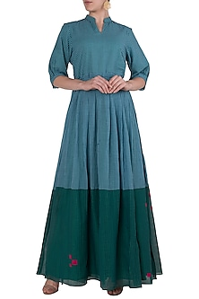 Blue and Emerald Checkered Maxi Dress by Vaayu