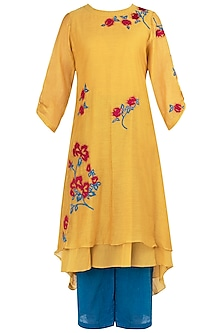 Canary Yellow Embroidered Kurta with Blue Pants by Vaayu