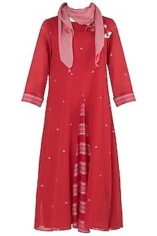 Cheery Red Jamdani Dress with Scarf by Vaayu