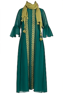 Emerald Green Applique Dress with Stole
