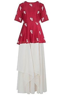 Red Applique Peplum Top with Ivory Skirt by Vaayu