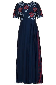 Navy Blue Applique Maxi Dress