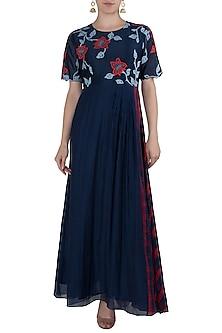 Navy Blue Applique Maxi Dress by Vaayu