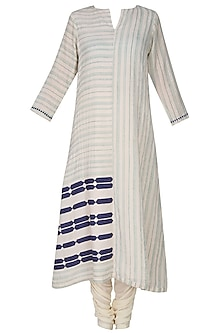 Off White Applique Work Striped Straight Kurta With Blue Stole