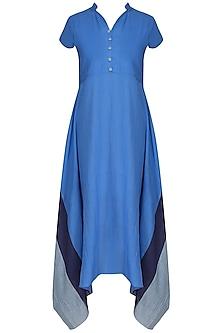 Blue Yoke Cut Side Drape Dress