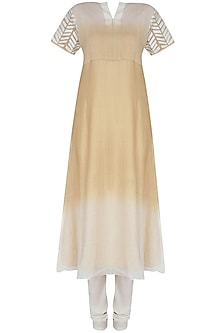 Gold And Ivory Shaded Applique Work Two Layer Kurta