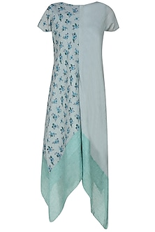Green Printed Panel Straight Fish Cut Dress With Stole