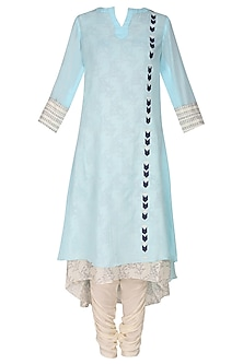 Sea Green Printed Panel Two Layer Kurta Set With White Straight Pants