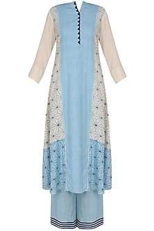 Powder Blue And Off White Applique Work A-Line Panelled Kurta