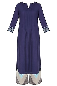Navy Blue Thread Work Straight Kurta With Patch Work Palazzos And Stole