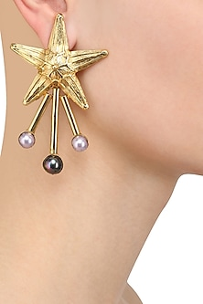 Gold Plated Semi Precious Stone Star Earrings