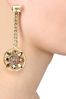 Gold Plated Wheel Drop Earrings