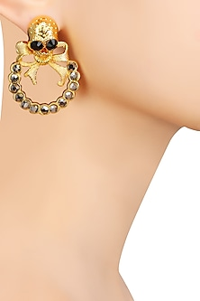 Gold Finish Skull Top and Grey Semi Precious Stone Earrings by Valliyan by Nitya Arora