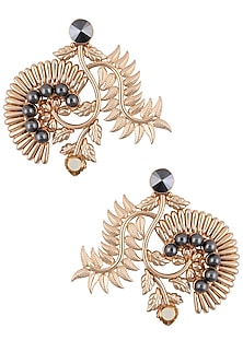 Rose Gold Finisg Blue Stone and Pearl Flower Design Earrings by Valliyan by Nitya Arora