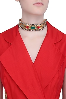 Gold Finish Red and Green Stones Choker Necklace by Valliyan by Nitya Arora