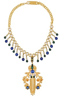 Gold Finish Multicolor Stone Abstract Pendant Necklace by Valliyan by Nitya Arora