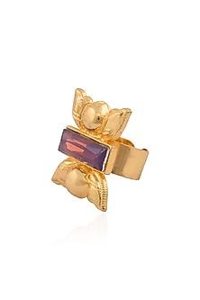 Gold Finish Purple Stone Middie Ring by Valliyan by Nitya Arora