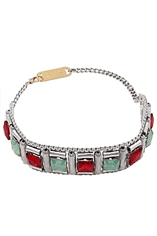 Rhodium Finish Mint And Red Stone Choker Necklace by Valliyan by Nitya Arora