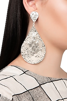 Silver Plated Metal Teardrop Earrings by Valliyan by Nitya Arora