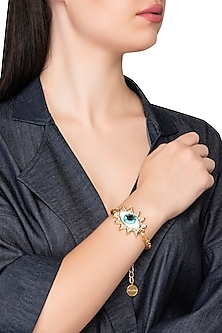 Gold Plated Evil Eye Bracelet with Swarvoski Crystals by Valliyan by Nitya Arora