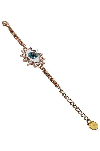 Gold Plated Evil Eye Bracelet with Swarvoski Crystals by Valliyan by Nitya Arora