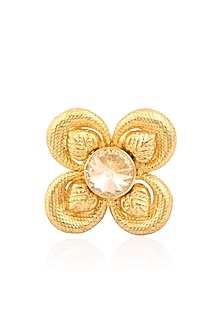 Gold Finish Pink Semi Precious Stones Flower Middie Ring by Valliyan by Nitya Arora