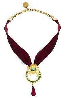 Gold Plated Amy Velvet Choker by Valliyan by Nitya Arora