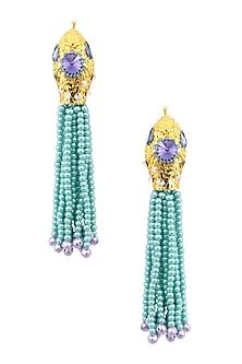 Gold Plated Ethnic Blue Bead Tassel Earrings by Valliyan by Nitya Arora