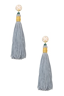 Gold Plated Powder Blue Silk Tassel Earrings by Valliyan by Nitya Arora