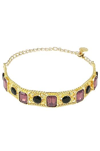 Valliyan Gold Plated Pink Stone Choker