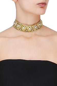 Gold Plated Multicolor Semi Precious Stone Choker by Valliyan by Nitya Arora