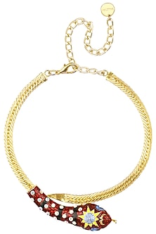 Gold Plated Swarovski Crystals Serpent Choker by Valliyan by Nitya Arora