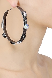 Gunmetal Finish Swarovski Stone Hoop Earrings