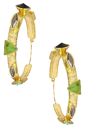 Valliyan Gold Plated Green Precious Stone Earrings
