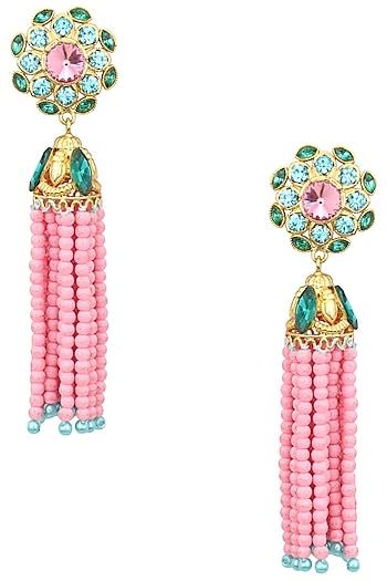 Valliyan Gold Plated Baruka Bead Tassel Earrings