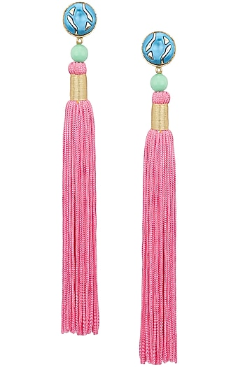 Valliyan Gold Plated Green Pink Tasseled Earrings