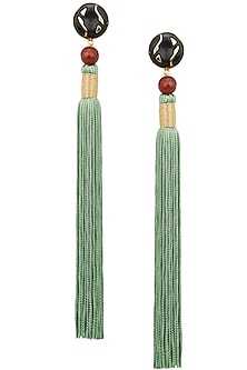 Gold Plated Red Stone and Mint Tasseled Earrings by Valliyan by Nitya Arora