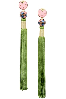 Gold Plated Pink Natural Stone and Green Tasseled Earrings by Valliyan by Nitya Arora