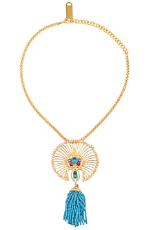 Gold Finish Round Jaal Semi Precious Stone Pendant Chain Necklace by Valliyan by Nitya Arora