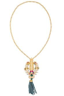 Gold Finish Semi Precious Stone Tassel Pendant Chain Necklace by Valliyan by Nitya Arora