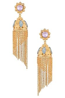 Gold Finish Semi Precious Stone Jhumki Style Earrings by Valliyan by Nitya Arora